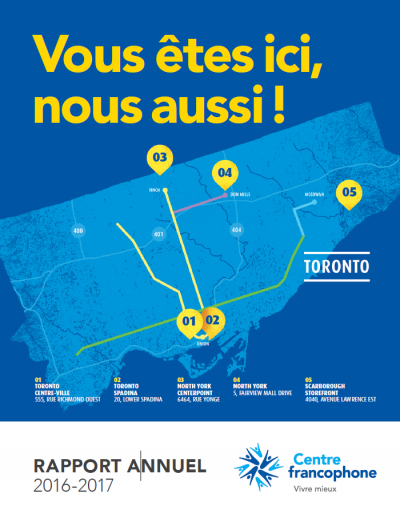 Annual Report cover page showing a map of Toronto with 5 locations in Toronto, North York and Scarborough