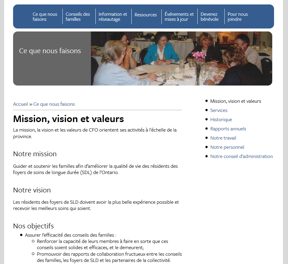 The Mission, Vision and Values page was one of the web pages which required an update in French.