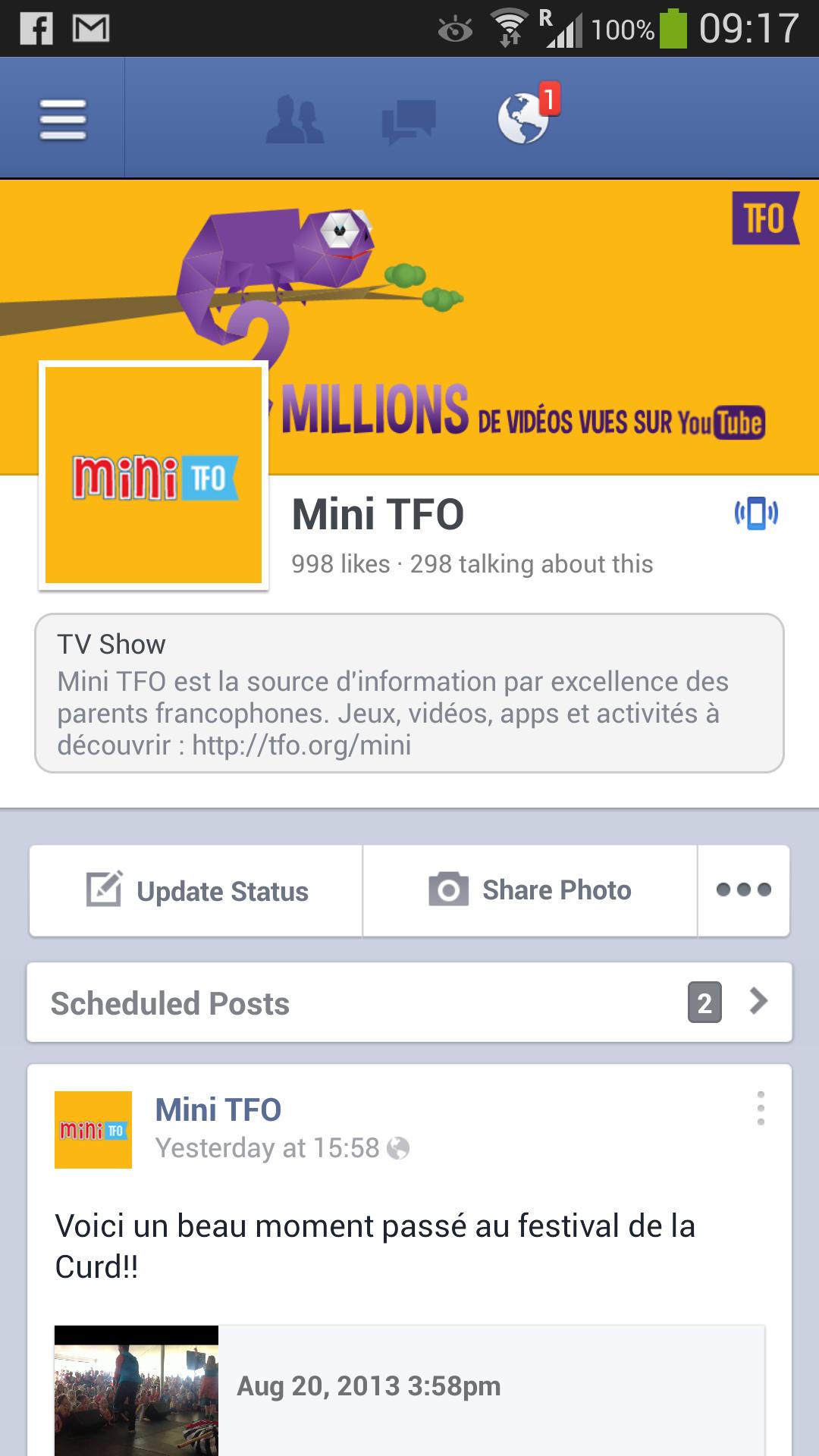 Facebook Profile of Mini TFO 2013