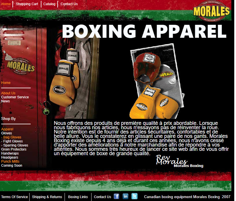 Boxing gloves from Rey Morales.