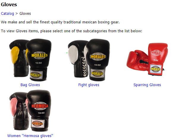 Various types of boxing gloves for men and women.